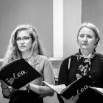 Two singers from the Lea Singers chamber choir